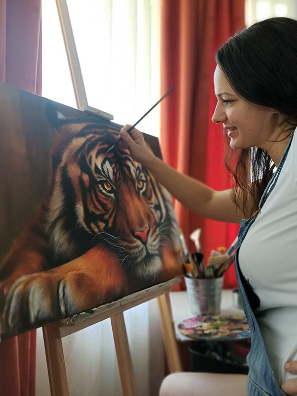 Tigris állat akril festmény