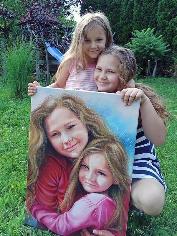Gyerek akril portré festmény