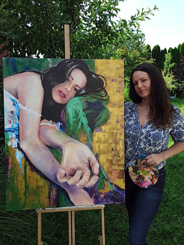 Akril önarckép festmény