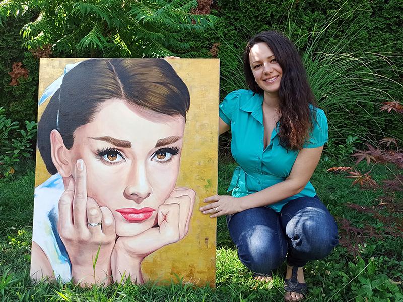 Audrey Hepburn akril portré festmény