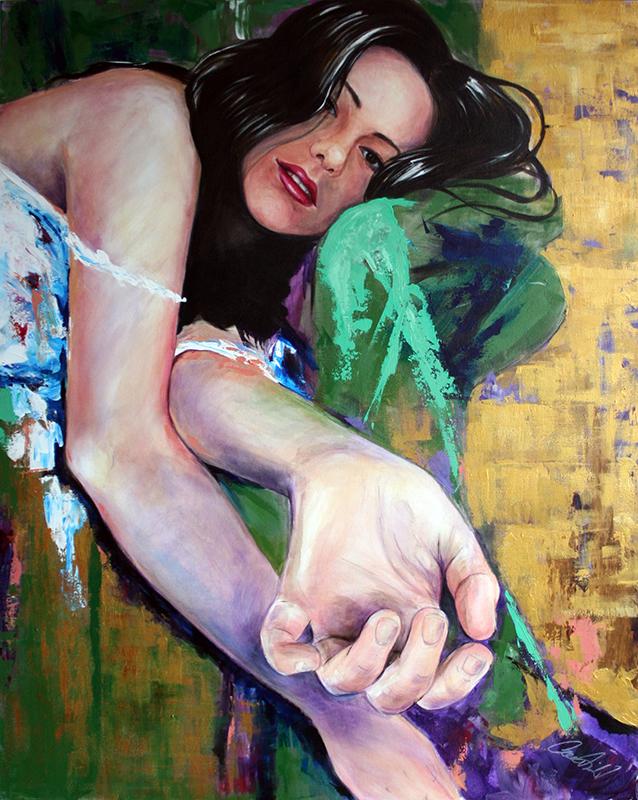 Önarckép akril portré festmény