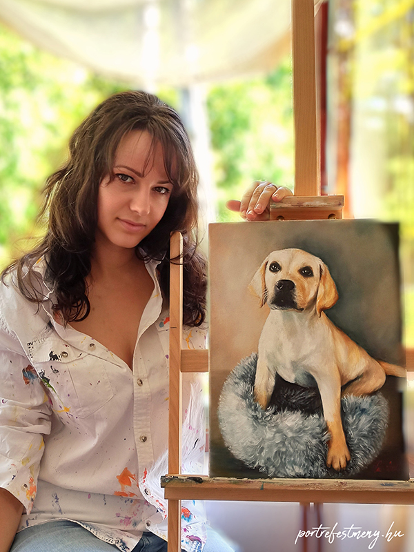 golden retriever kutya festmény