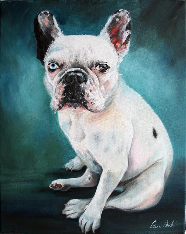 Bulldog kutya festmény