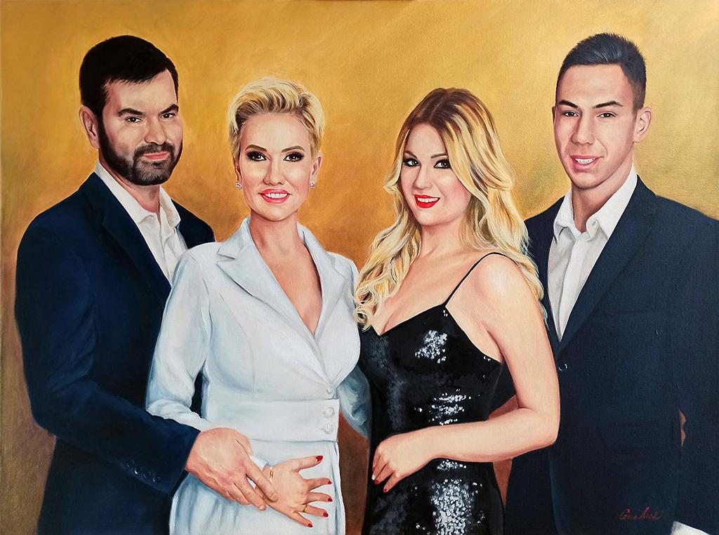 Családi portré festmény