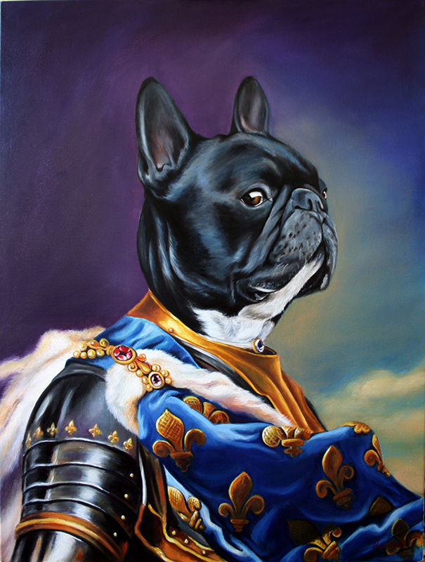Francia bulldog festmény